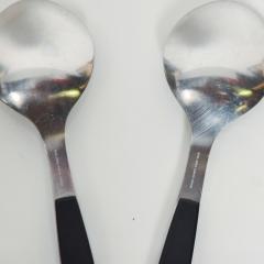 Georg Jensen 1970s Strata Black Stainless Flatware 2 Large Spoons Georg Jensen DENMARK - 1584075
