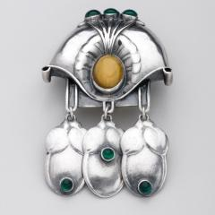 Georg Jensen GEORG JENSEN BROOCH NO 153 WITH GREEN AGATE YELLOW AMBER - 1375031