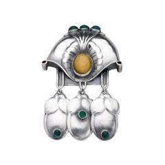 Georg Jensen GEORG JENSEN BROOCH NO 153 WITH GREEN AGATE YELLOW AMBER - 1379621