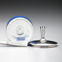 Georg Jensen Georg Jensen Bernadotte Mustard Pot Spoon with Royal Copenhagen Blue Pot - 162171