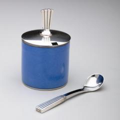 Georg Jensen Georg Jensen Bernadotte Mustard Pot Spoon with Royal Copenhagen Blue Pot - 162172