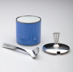 Georg Jensen Georg Jensen Bernadotte Mustard Pot Spoon with Royal Copenhagen Blue Pot - 162173