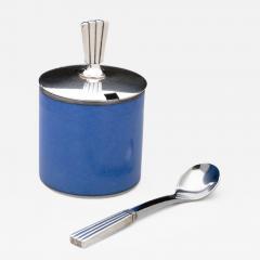 Georg Jensen Georg Jensen Bernadotte Mustard Pot Spoon with Royal Copenhagen Blue Pot - 163097