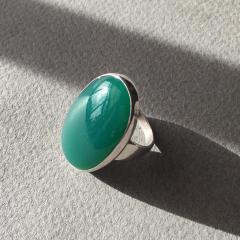 Georg Jensen Georg Jensen Modernist Sterling Silver Ring No 90B with Jadeite - 249180
