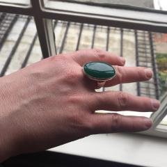 Georg Jensen Georg Jensen Modernist Sterling Silver Ring No 90B with Jadeite - 249182
