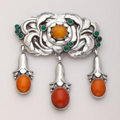 Georg Jensen Georg Jensen Silver Brooch No 74 with Green Agate and Amber - 537665