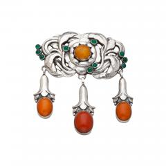 Georg Jensen Georg Jensen Silver Brooch No 74 with Green Agate and Amber - 538613