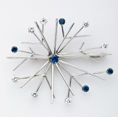 Georg Jensen Georg Jensen Snowflake Brooch in Gold Diamond and Sapphires - 241395