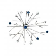 Georg Jensen Georg Jensen Snowflake Brooch in Gold Diamond and Sapphires - 241419