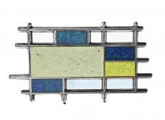 Georg Jensen Georg Jensen Sterling Silver Enamel Abstract Brooch Denmark C 1960 - 1929983