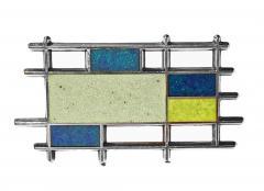 Georg Jensen Georg Jensen Sterling Silver Enamel Abstract Brooch Denmark C 1960 - 1930768