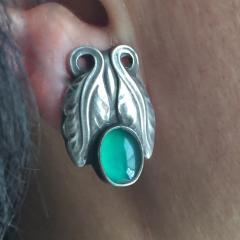 Georg Jensen Georg Jensen Sterling Silver Foliate Earrings No 108 with Green Chrysoprase - 145165