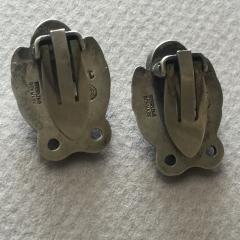Georg Jensen Georg Jensen Sterling Silver Foliate Earrings No 108 with Green Chrysoprase - 145166