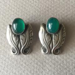 Georg Jensen Georg Jensen Sterling Silver Foliate Earrings No 108 with Green Chrysoprase - 145167