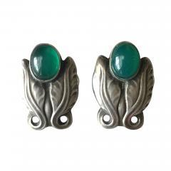 Georg Jensen Georg Jensen Sterling Silver Foliate Earrings No 108 with Green Chrysoprase - 145497