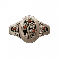 Georg Jensen Georg Jensen Sterling Silver Museum Quality Antique Belt Buckle with Coral - 101543