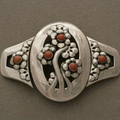 Georg Jensen Georg Jensen Sterling Silver Museum Quality Antique Belt Buckle with Coral - 93015