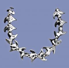 Georg Jensen Georg Jensen Sterling Silver Necklace Koppel designed Amoeba 89  - 1166250