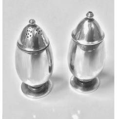 Georg Jensen Pair Georg Jensen Silver Salt and Pepper Shakers Casters 629B - 1061078