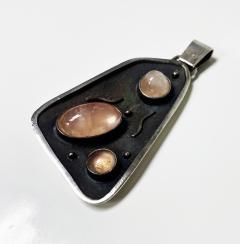 Georg Kramer modernist Silver and Rose Quartz Pendant Germany C 1930  - 1835598