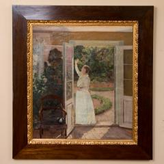 Georg Seligmann Antique Oil Painting of Smiling Woman in a Garden by Georg Seligmann - 1070773