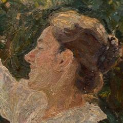 Georg Seligmann Antique Oil Painting of Smiling Woman in a Garden by Georg Seligmann - 1070777