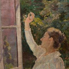 Georg Seligmann Antique Oil Painting of Smiling Woman in a Garden by Georg Seligmann - 1070783