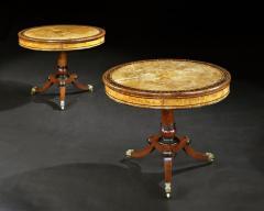 George Bullock Rare Pair of English Regency Pollard Oak Bullock Circular Drum Library Tables - 1137612