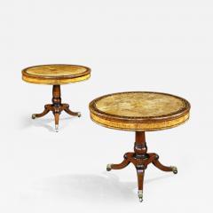 George Bullock Rare Pair of English Regency Pollard Oak Bullock Circular Drum Library Tables - 1138212