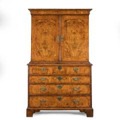 George I burr walnut cabinet on chest - 818776