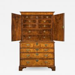 George I burr walnut cabinet on chest - 821272