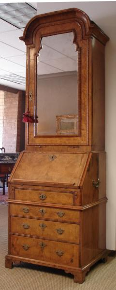George I period burl walnut and feather banded bureau cabinet of small size - 2032271