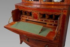 George III Mahogany Bow Front Secretary Bookcase in the style of Seddon Sons - 1005844