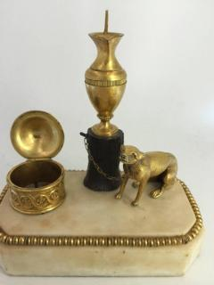 George III Ormolu Patinated Bronze and White Marble Inkwell circa 1800 - 614230