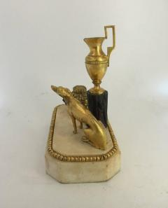 George III Ormolu Patinated Bronze and White Marble Inkwell circa 1800 - 614231