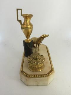 George III Ormolu Patinated Bronze and White Marble Inkwell circa 1800 - 614232