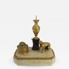 George III Ormolu Patinated Bronze and White Marble Inkwell circa 1800 - 615281