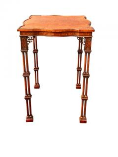 George III Style Burl Walnut and Mahogany China Table Attributed to Gillow - 1736126