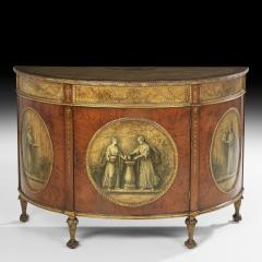 George III Style Painted Demi Lune Cabinet - 55387