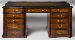 George III Style Part Ebonized and Burr Maple Pedestal Desk - 272691