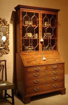 George III period mahogany bureau bookcase of large scale Wright Elwick - 2032044