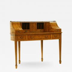 George III style satinwood and marquetry Carlton House desk - 2033816