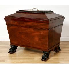George IV style brass mounted mahogany antique wine cooler - 1942675