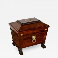 George IV style brass mounted mahogany antique wine cooler - 1943281