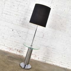 George Kovacs Modern chrome cylinder floor lamp with attached glass side table - 1900177