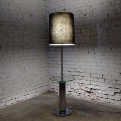 George Kovacs Modern chrome cylinder floor lamp with attached glass side table - 1900180