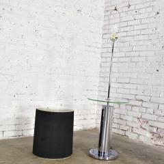 George Kovacs Modern chrome cylinder floor lamp with attached glass side table - 1900191