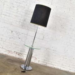 George Kovacs Modern chrome cylinder floor lamp with attached glass side table - 1900192