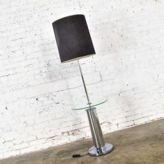 George Kovacs Modern chrome cylinder floor lamp with attached glass side table - 1900194