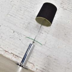 George Kovacs Modern chrome cylinder floor lamp with attached glass side table - 1900195